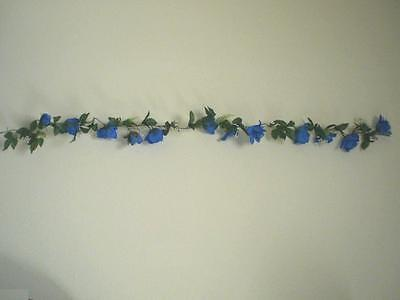 BLUE TURQUOISE Open Roses Garland Artificial Silk Flowers 5.6 ft Vine 628TQ (Turquoise Silk Flowers)