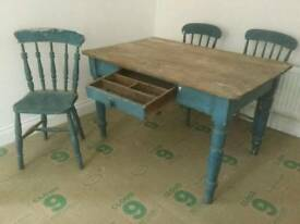 Victorian Scrub Top Wooden Table and Chairs