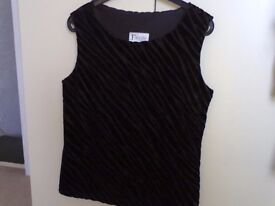 Black velvet top with wavy pattern......size 10