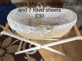 Mothercare Moses Basket, Stand and Sheets