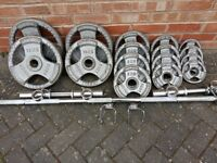 BODY POWER OLYMPIC WEIGHTS SET WITH 7FT BAR & DUMBBELLS