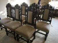 Set of Six Jacobean Revival, Jacobethan Dinning Chairs . Great condition Great price