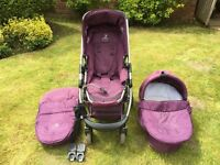icandy travel system with pushchair, carrycot, parasol, maxi cosi car seat adaptors