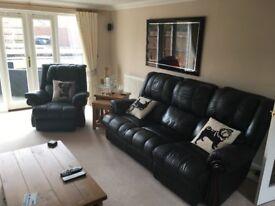 Black Leather Sofa with wood trim