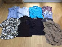 A clothes bundle of mainly shirts but other items included at a bargain price. see all pics