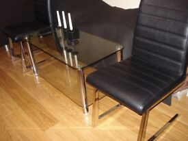 2x CHAIR MODERN WITH CHROME LEGS And COFFEE TABLE