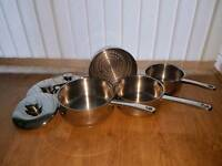 Set of 3 Stainless Steel Saucepans with Steamer