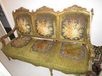 Vintage Antique French Louis Gilt Baroque Salon Boudoir Sofa Chaise Lounge