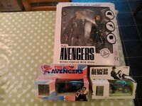 The Avengers TV series. Patrick Macnee, Diana Rigg. Rare Figures and Cars, boxed.