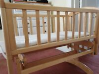 John Lewis Rocking/Glider Crib Natural Wood