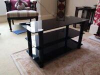 Black Glass 3 Tier TV Stand - Sheffield