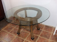 Glass & Whicker Dining Table