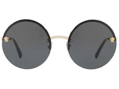 NWT VERSACE Sunglasses VE 2176 1252/87 Pale Gold / Gray 125287 59 mm (Versace Round Sunglasses)