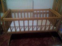 Baby Swing Crib Real Wooden Infant Cradle Rocking Swinging
