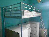 IKEA Tromso Single Loft Bed ( silver) & Mattress