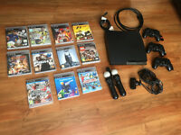 Playstation 3 PS3 with 3 Controllers & 10 Games including FIFA 17 and WWE2K17 & PS Move Package