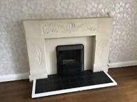 Lovely stone handcrafted fireplace