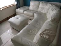 Large leather corner sofa with foot stol