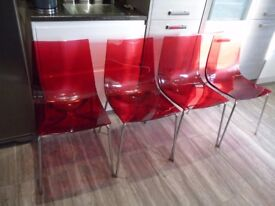 CHAIRS RETRO STYLE X4 RED CLEAR PLASTIC