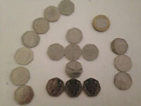 Rare and collectible 50p pieces and £2 coin