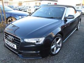 Audi A5 2.0 TDI 177 S LINE 2dr CABRIOLET + BLACK LEATHER + FULL SERVICE HISTORY (blue) 2013