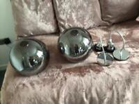 Grey glass globe pendant light fitting