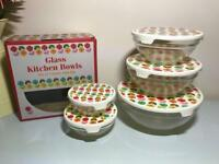Set of 5 Tupperware style glass bowls