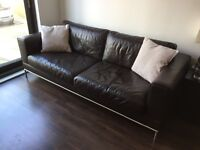2 brown leather sofas - excellent condition, originally cost £1,500+