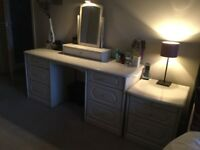 Ivory Dressing table, swivel mirror and two matching bedside units