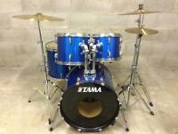 """Immaculate drum kit Tama logo 20"""" smaller bass Cymbals Stands pedal"""