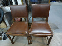 Pair of Wooden Dining Chairs with Leather Seats