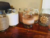 10 Hand decorated coffee jars - perfect for wedding table centrepieces