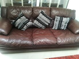 3 seater Chocolate brown sofa