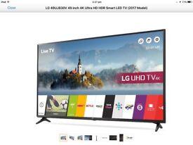 LG 49UJ630V-ZA 4K HDR Ultra HD TV. 2017 model 49inch Smart tv.
