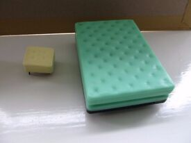 Dolls house furniture: Triang Bed & Mattress and Foot stool.