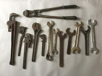 "Job Lot of Tools inc. Record 25"" bolt cutter, wrenches, spanners, etc"