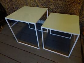 Glossy blue and white side table set