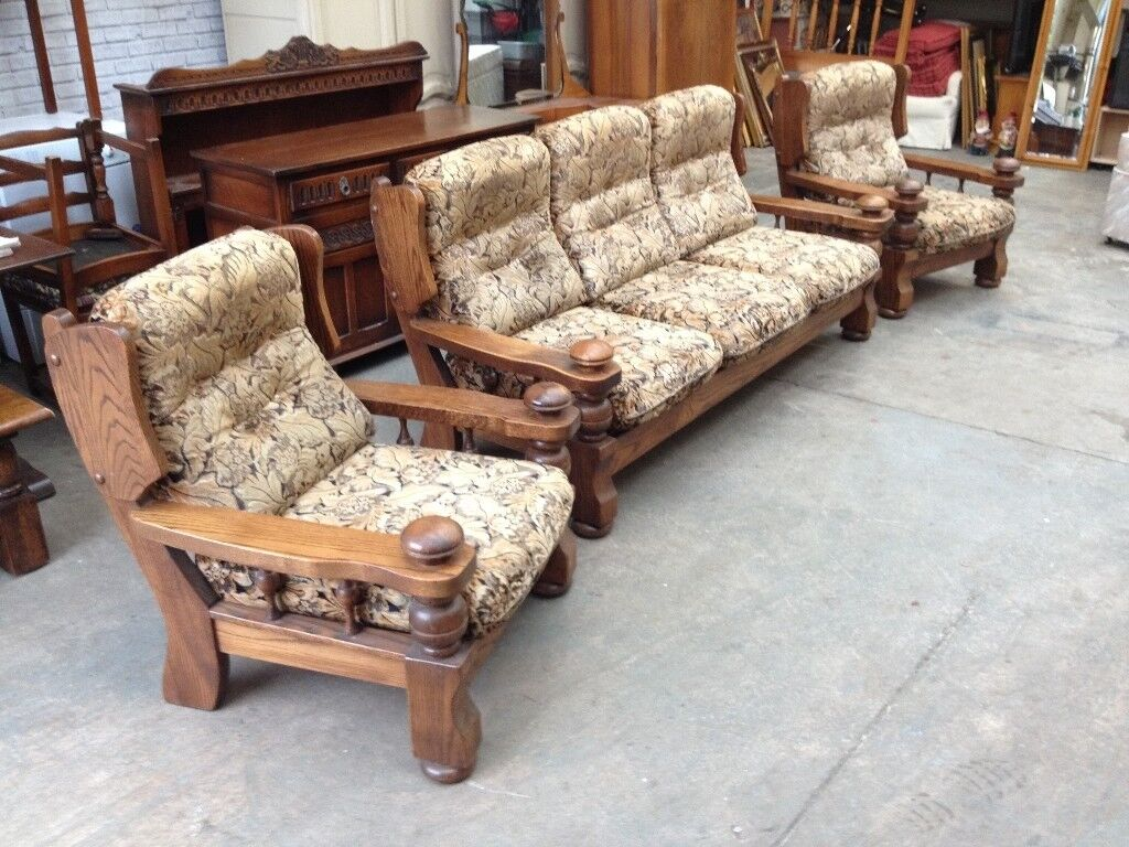 Solid Oak Frame Three Piece Suite Sofa Armchairs Can