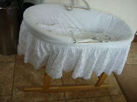 Moses Basked Hard Wicker with Leather Handles Long White Broderie Drapes & Rocking Stand