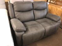 New/Ex-display** grey fabric reclining 2 seater sofa ,