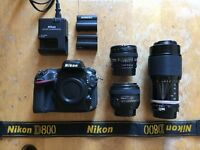 Nikon D800 + 50mm 1.4 / 20mm 2.8 / 80-200mm 4.5 + batteries.