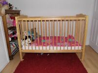 Wooden Cot with Drop Down Side