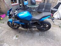 TRIUMPH STREET TRIPLE 675, BLUE, 2013,SPARESOR REPAIR,(IGNITION DAMAGE),any inspection