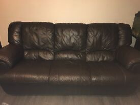 Sofa, real leather, 3 seater x2