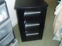 Black 3 Drawer Bedside Cabinet