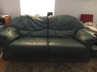 Leather Sofas and Foot Stool