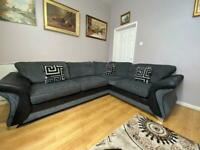 Beautiful Dfs Black and Grey Corner Sofa