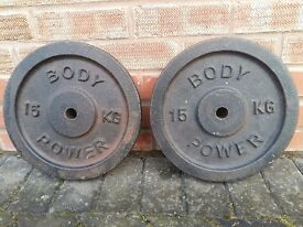BODY POWER CAST IRON 15KG X 2 WEIGHT PLATES