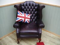 Stunning Oxblood Leather Chesterfield Queen Anne Chair.