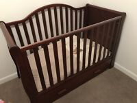 3 peice nursery set slay cot bed, 3 chest of drawers and wardrobe